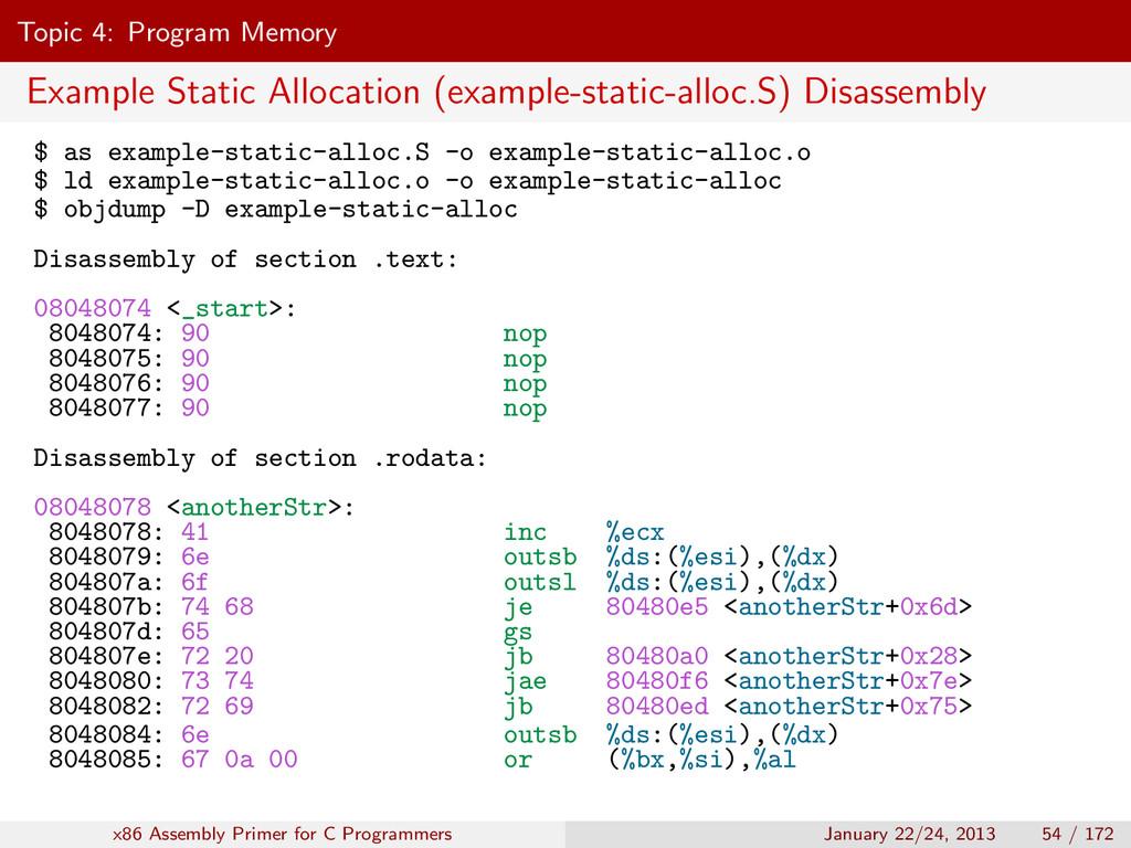 Topic 4: Program Memory Example Static Allocati...