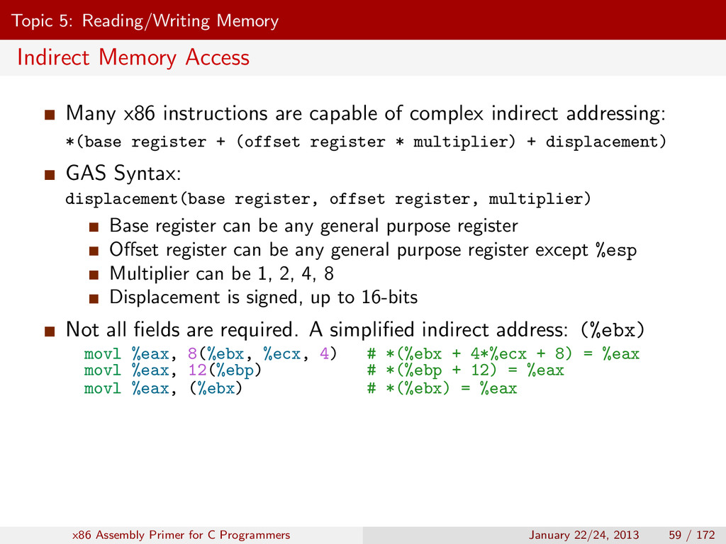 Topic 5: Reading/Writing Memory Indirect Memory...