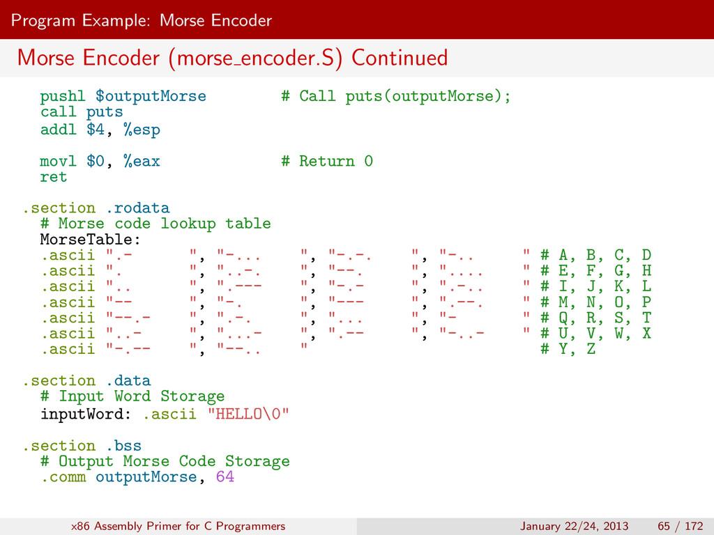 Program Example: Morse Encoder Morse Encoder (m...