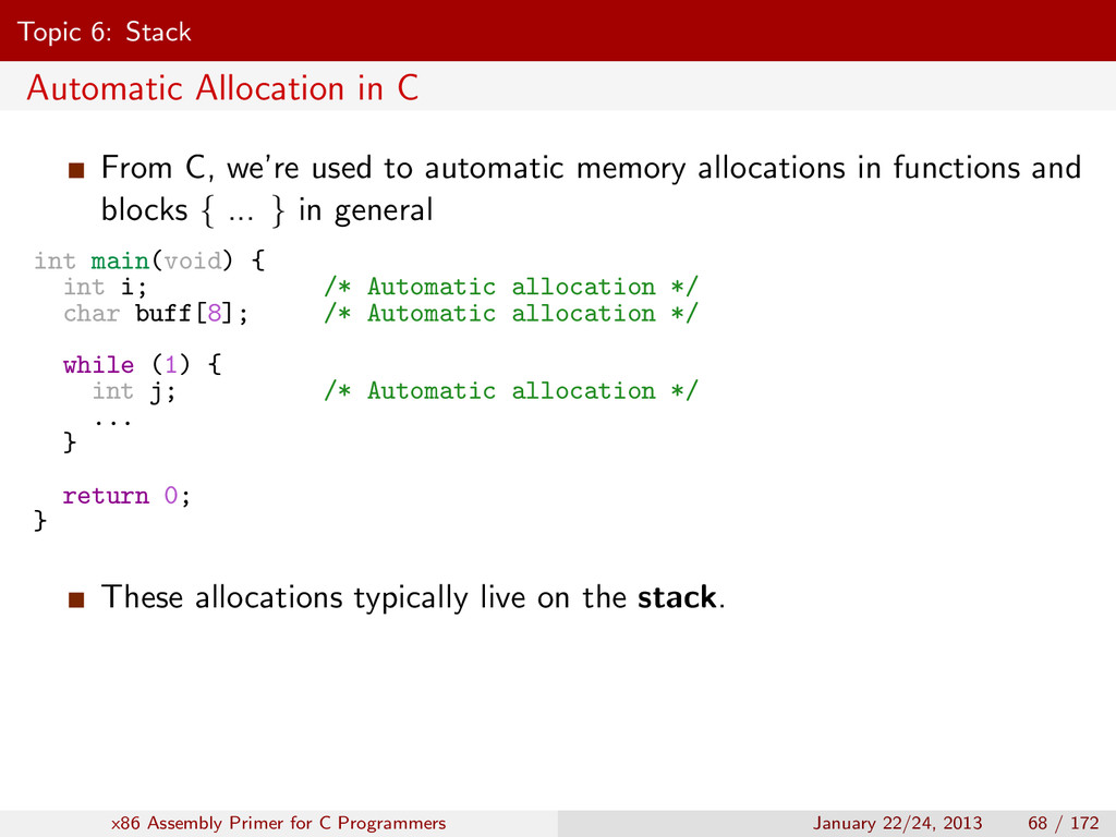 Topic 6: Stack Automatic Allocation in C From C...