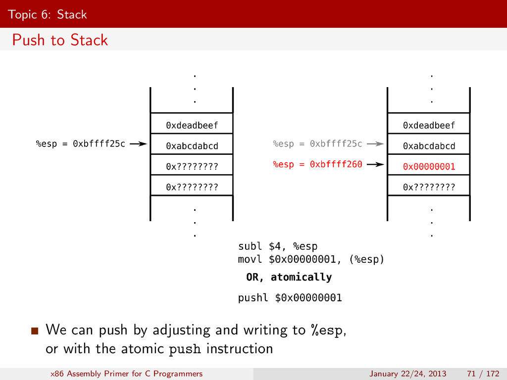 Topic 6: Stack Push to Stack We can push by adj...