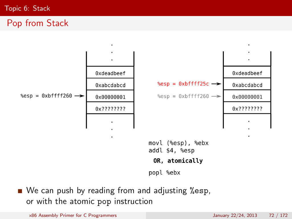 Topic 6: Stack Pop from Stack We can push by re...