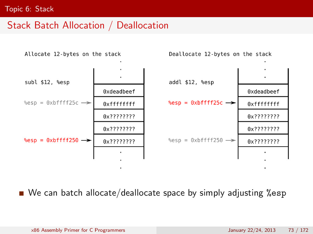 Topic 6: Stack Stack Batch Allocation / Dealloc...