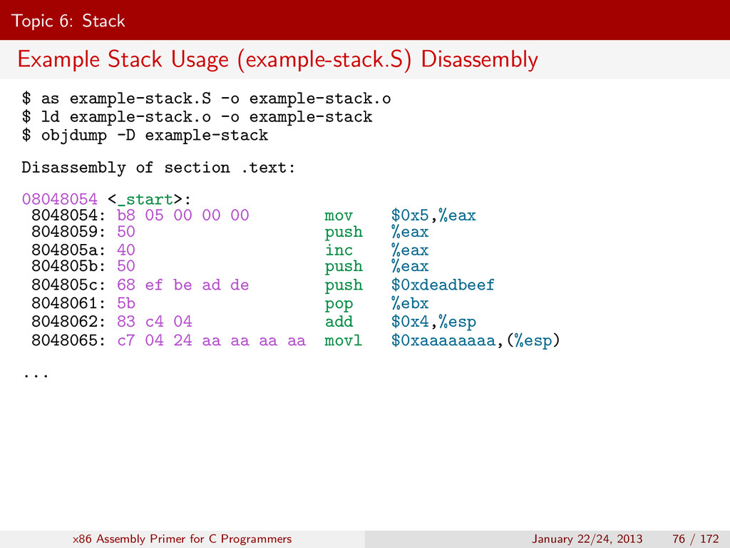 Topic 6: Stack Example Stack Usage (example-sta...