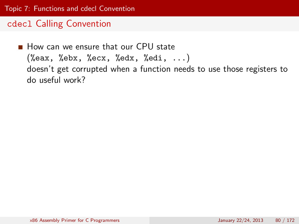 Topic 7: Functions and cdecl Convention cdecl C...