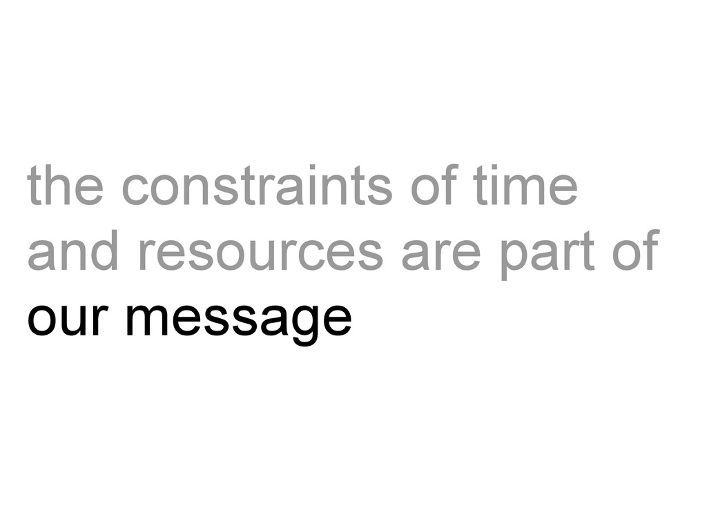 the constraints of time and resources are part ...