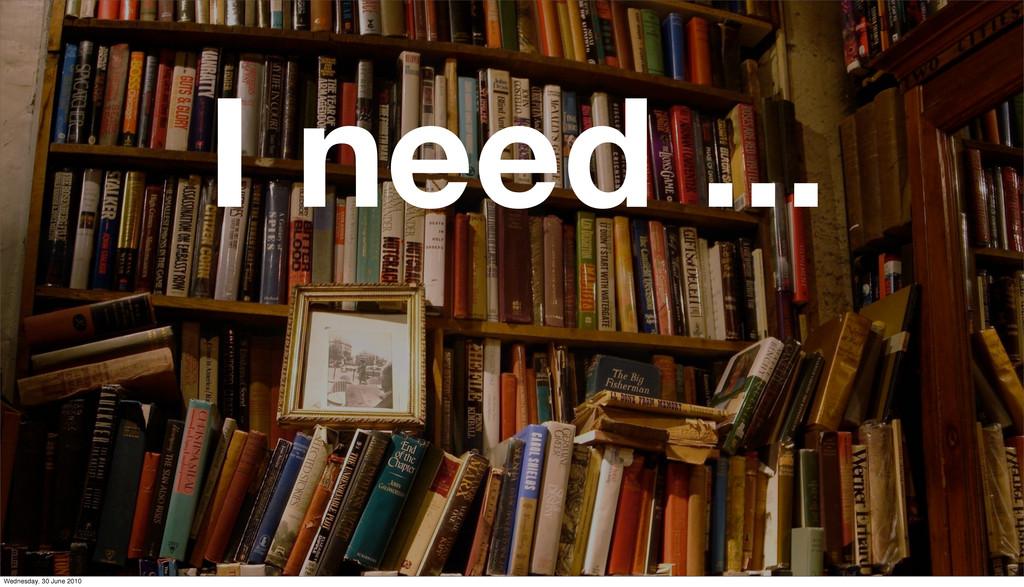 I need ... Wednesday, 30 June 2010