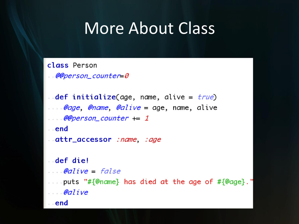 More About Class