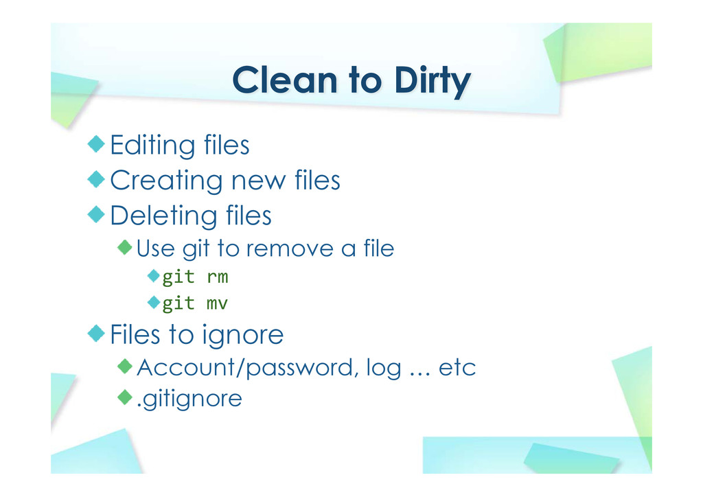 Clean to Dirty Editing files Creating new files...