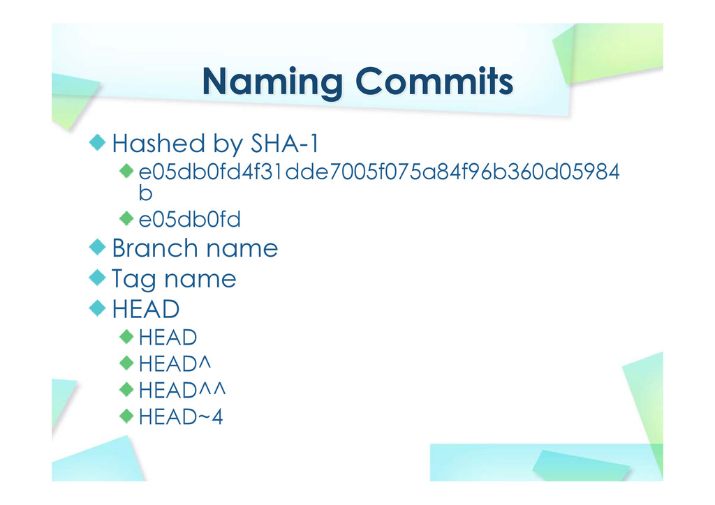 Naming Commits Hashed by SHA-1 e05db0fd4f31dde7...