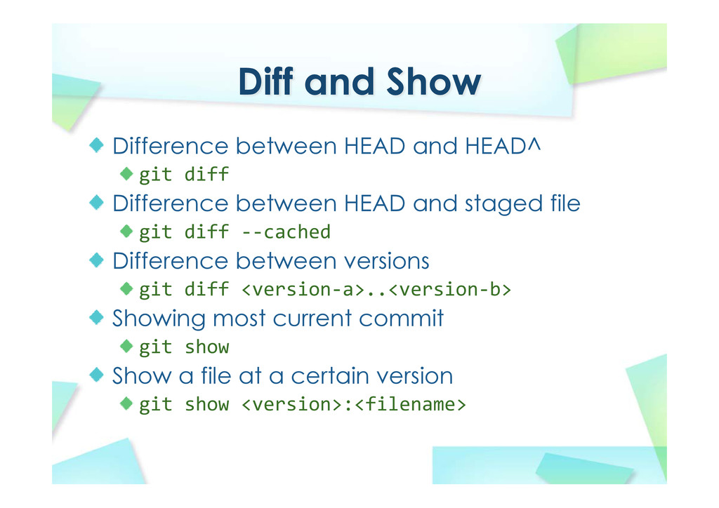 Diff and Show Difference between HEAD and HEAD^...