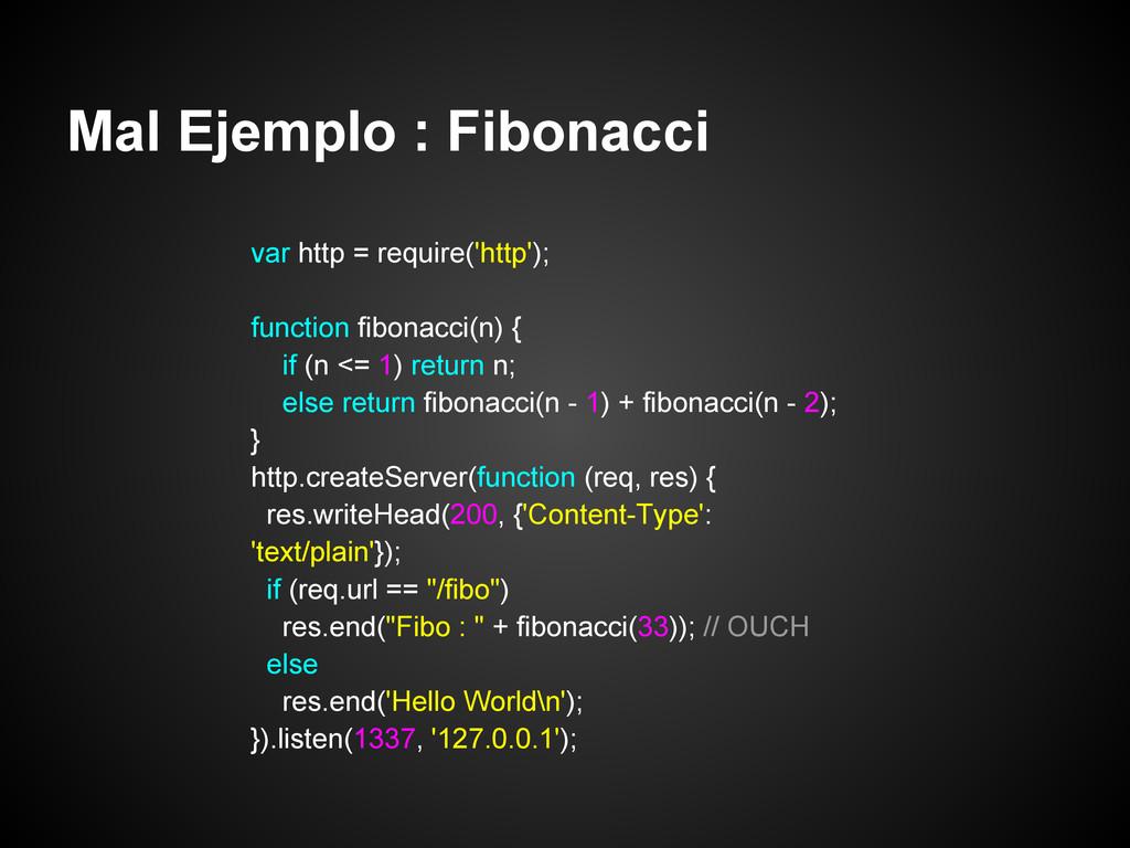 Mal Ejemplo : Fibonacci var http = require('htt...