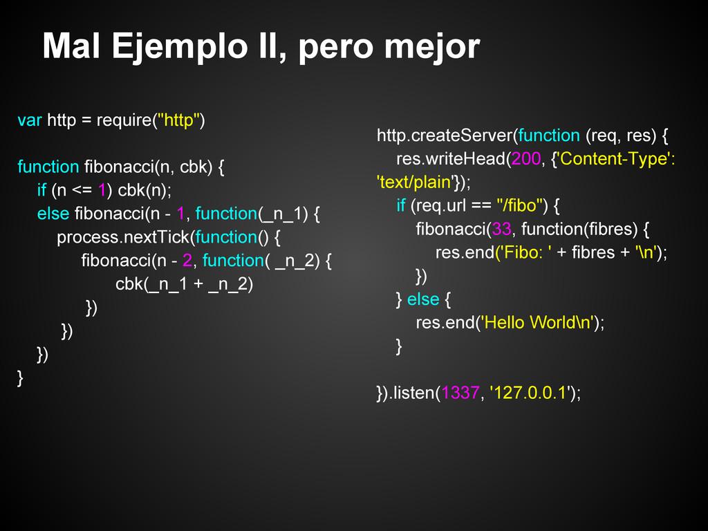"Mal Ejemplo II, pero mejor var http = require(""..."