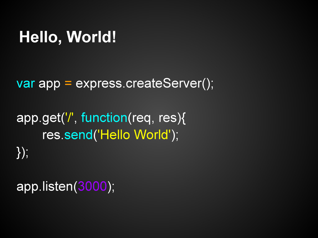 Hello, World! var app = express.createServer();...