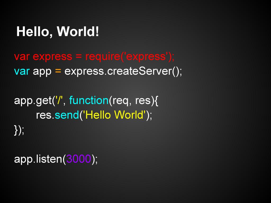 Hello, World! var express = require('express');...