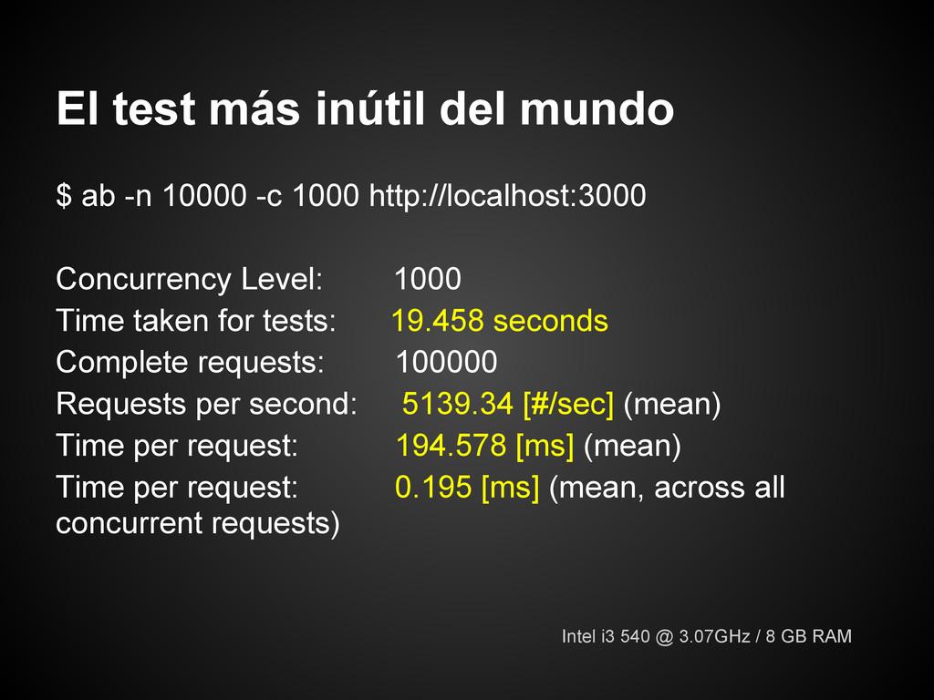 El test más inútil del mundo $ ab -n 10000 -c 1...