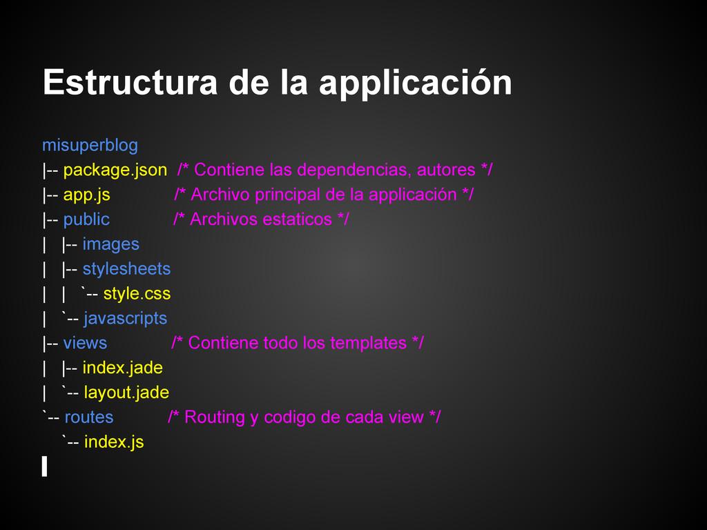 Estructura de la applicación misuperblog |-- pa...