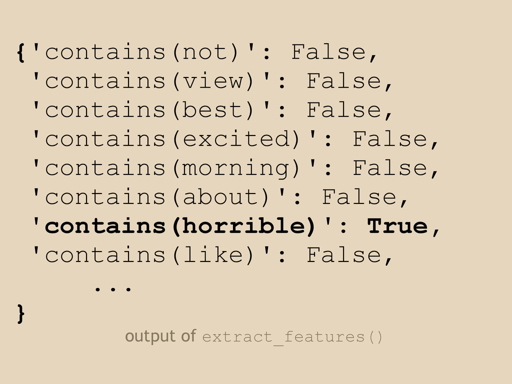 {'contains(not)': False, 'contains(view)': Fals...