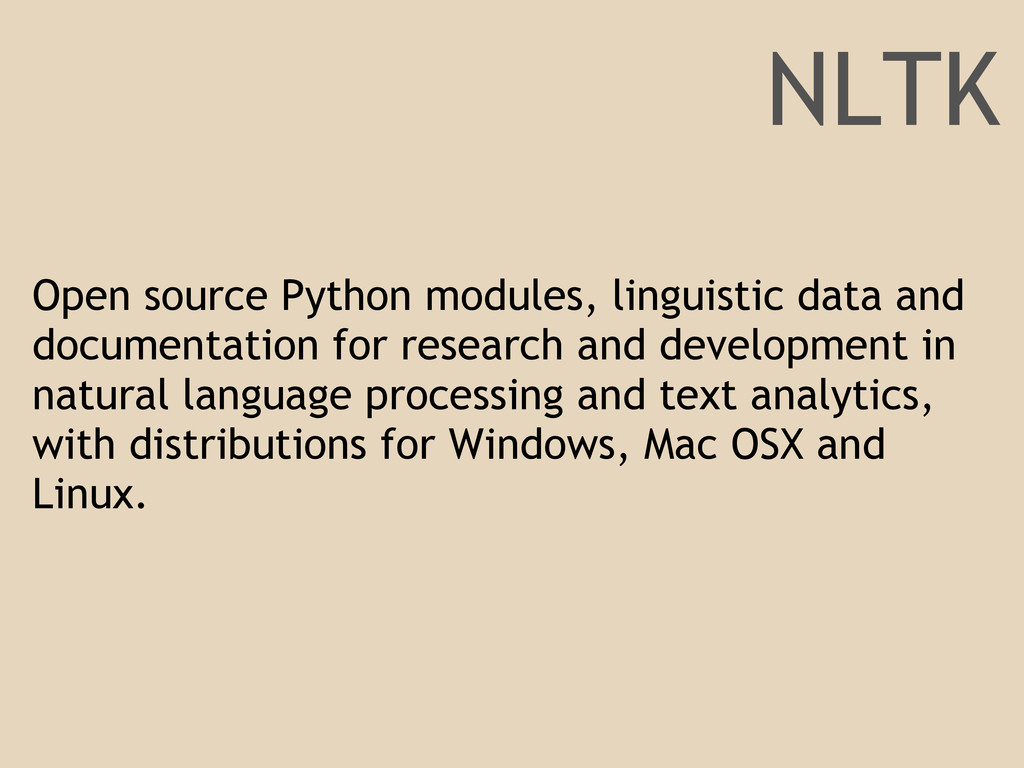 Open source Python modules, linguistic data and...
