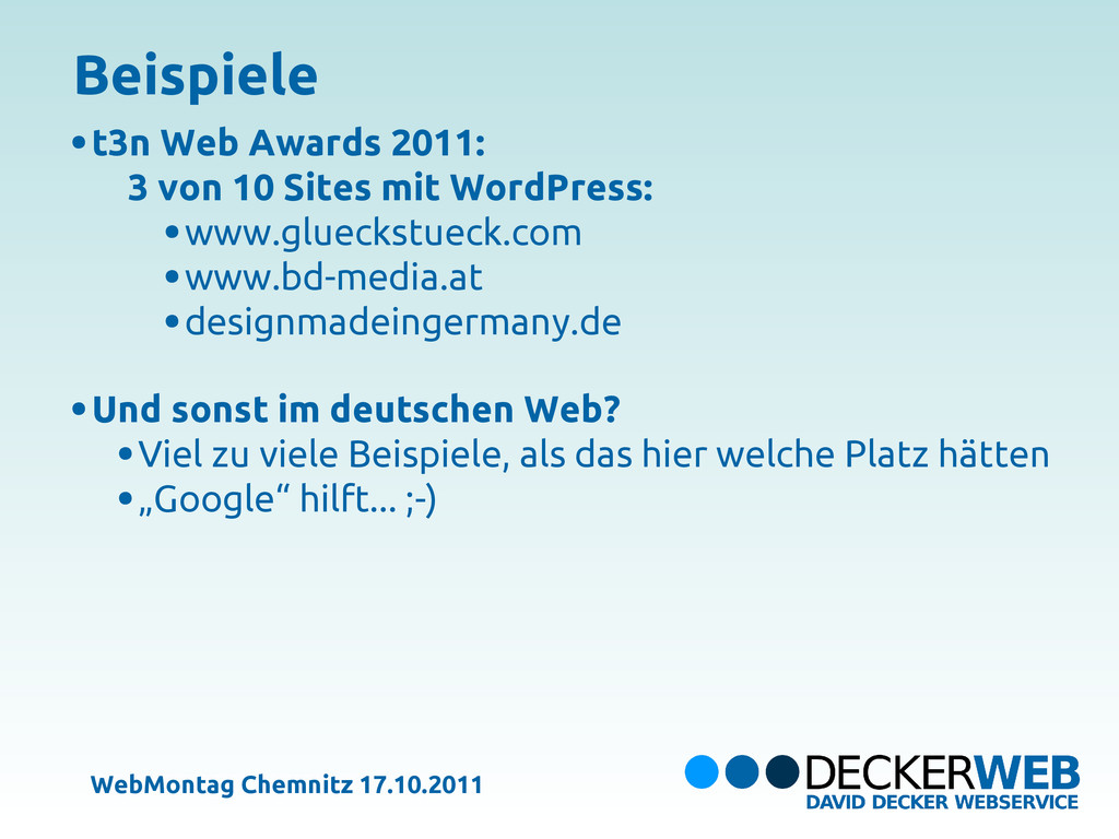 t3n Web Awards 2011: 3 von 10 Sites mit WordPre...