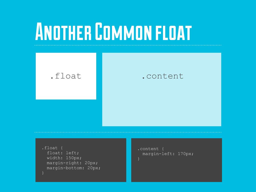 .float { float: left; width: 150px; margin-righ...