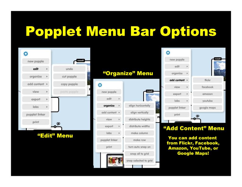 "Popplet Menu Bar Options ""Edit"" Menu ""Organize""..."
