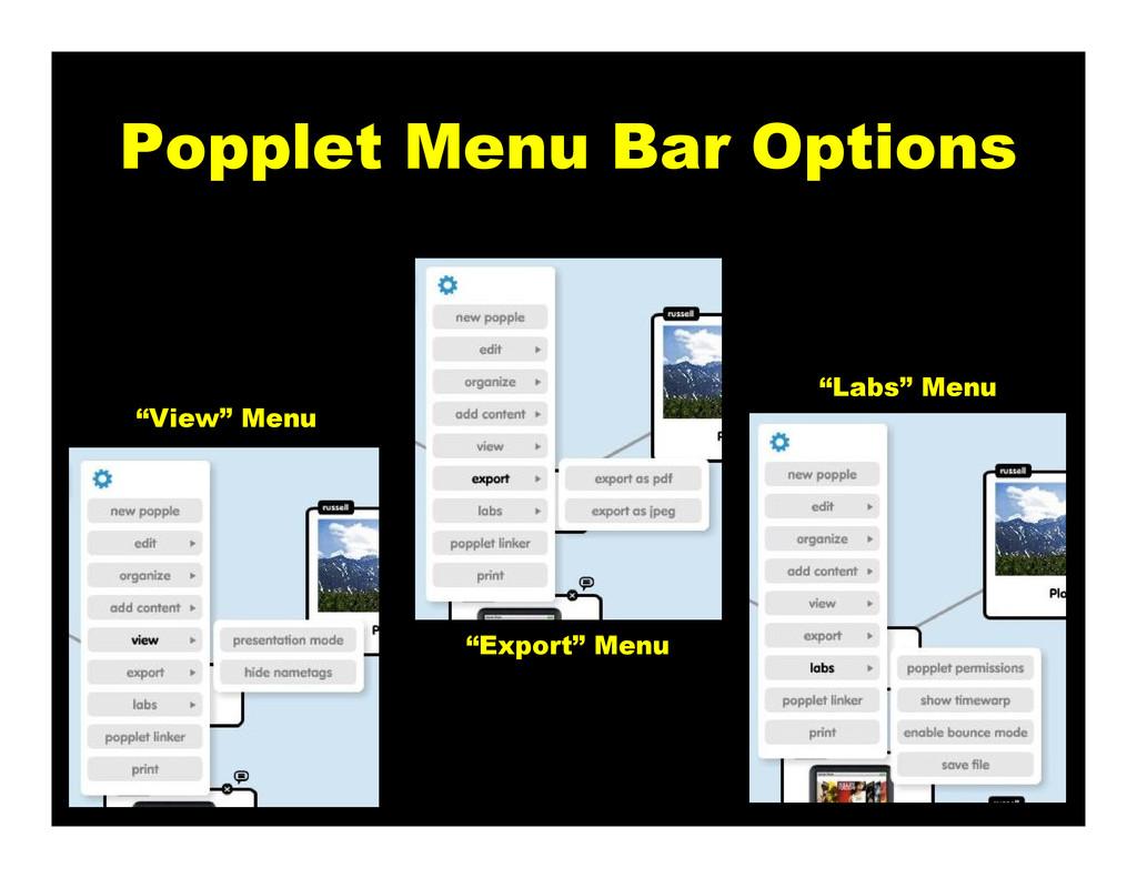 "Popplet Menu Bar Options ""View"" Menu ""Export"" M..."