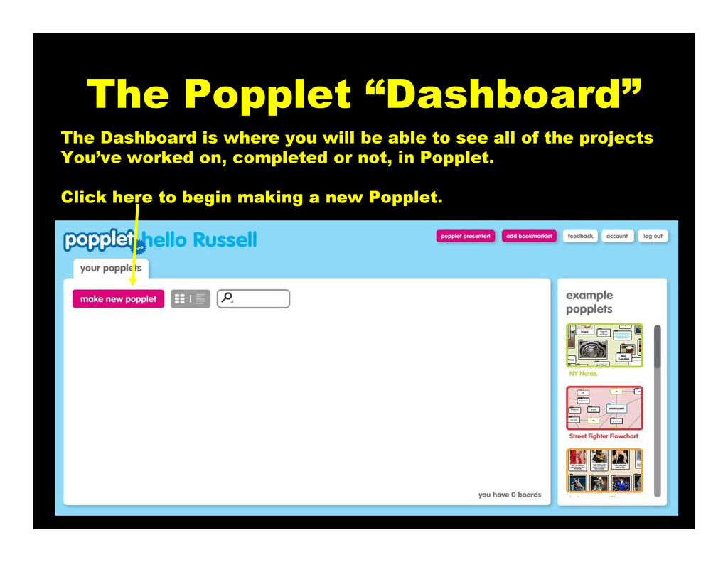 """The Popplet """"Dashboard"""" The Dashboard is where ..."""