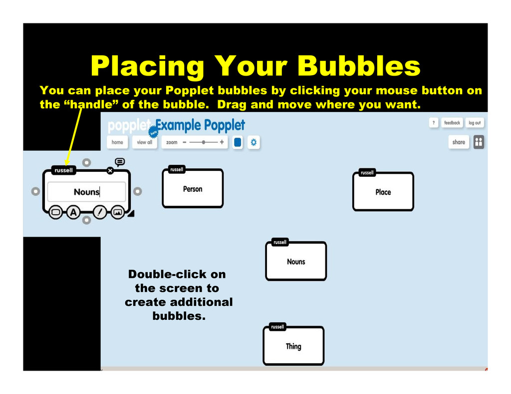 Placing Your Bubbles You can place your Popplet...