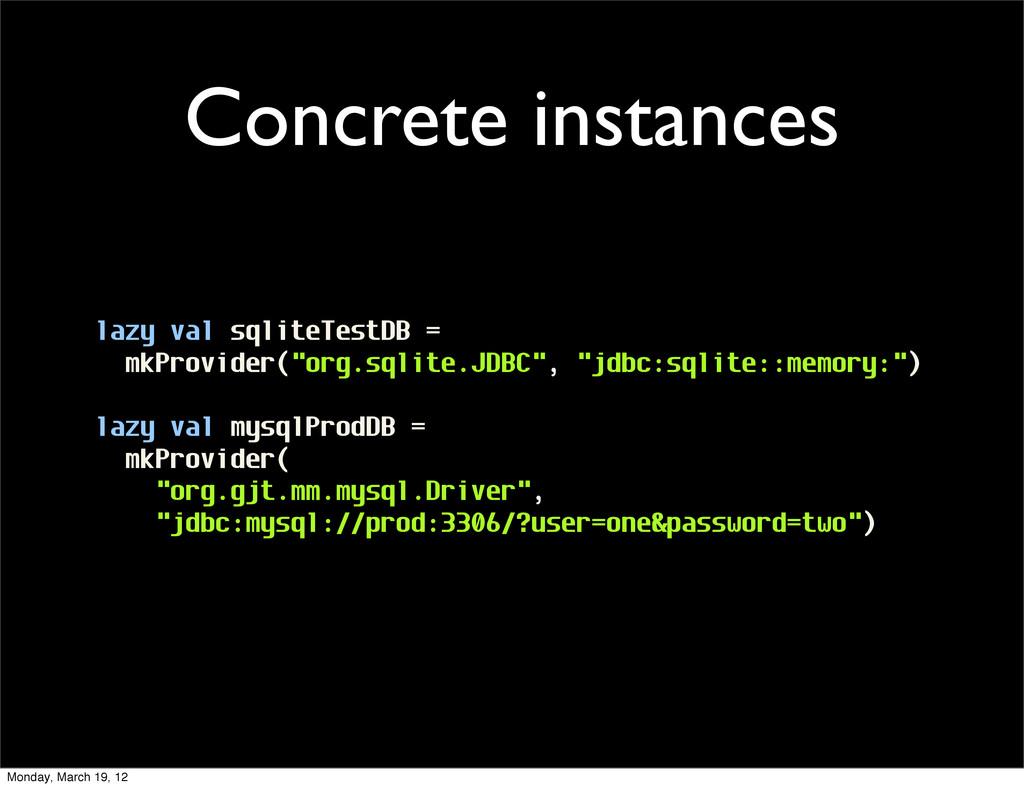 Concrete instances lazy val sqliteTestDB = mkPr...
