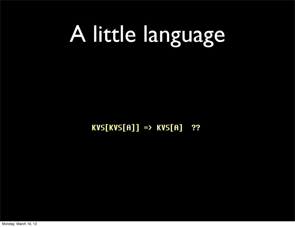 A little language KVS[KVS[A]] => KVS[A] ?? Mond...