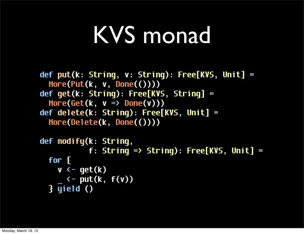 def put(k: String, v: String): Free[KVS, Unit] ...