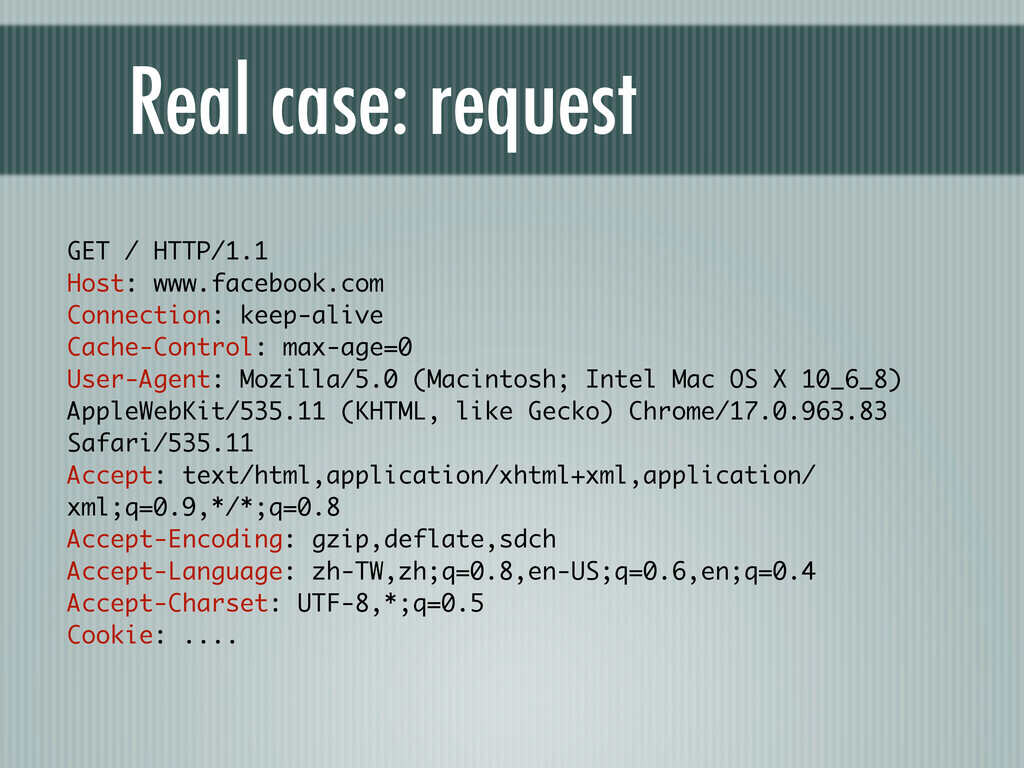 Real case: request GET / HTTP/1.1 Host: www.fac...