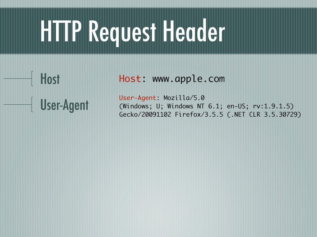 HTTP Request Header Host User-Agent Host: www.a...