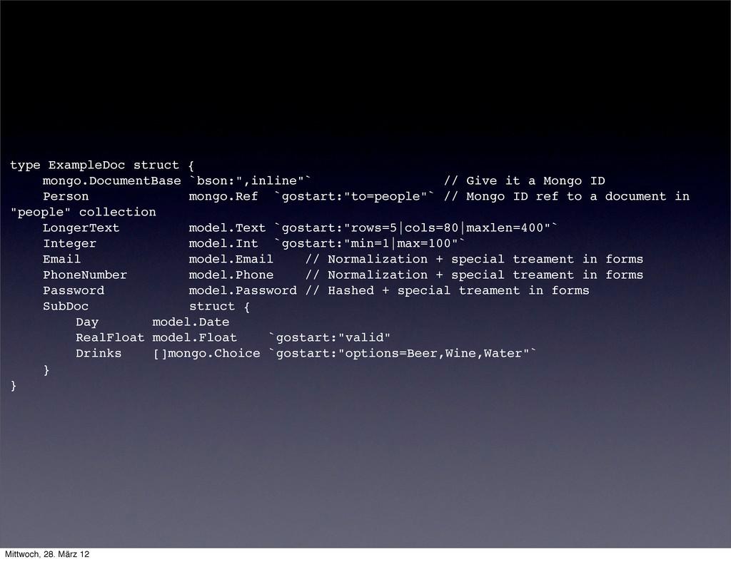 type ExampleDoc struct { ! mongo.DocumentBase `...