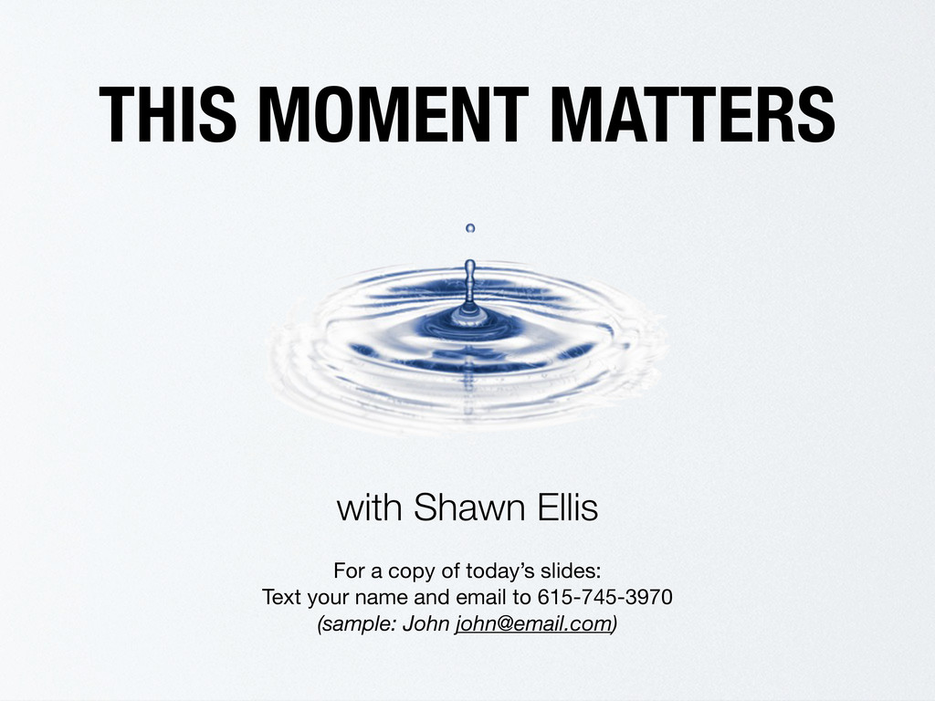 THIS MOMENT MATTERS with Shawn Ellis For a copy...
