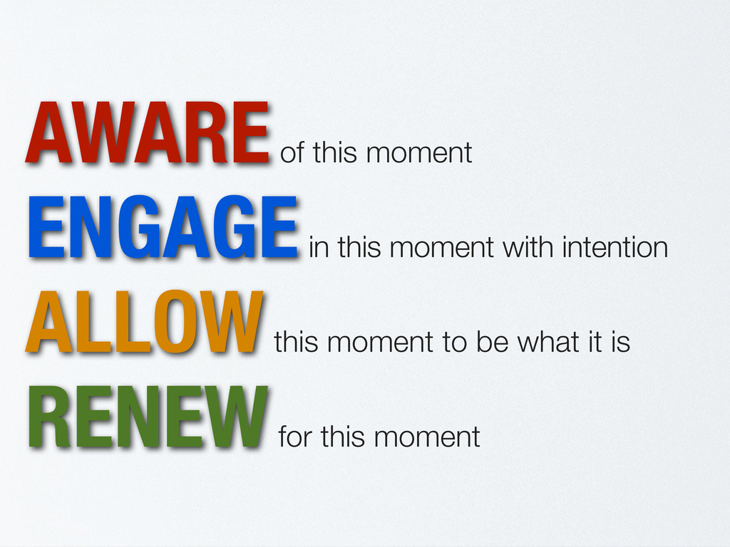 AWARE of this moment ENGAGE in this moment with...