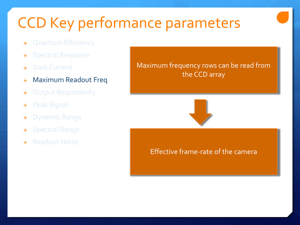CCD Key performance parameters Maximum frequenc...