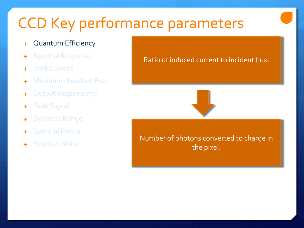 CCD Key performance parameters Ratio of induced...