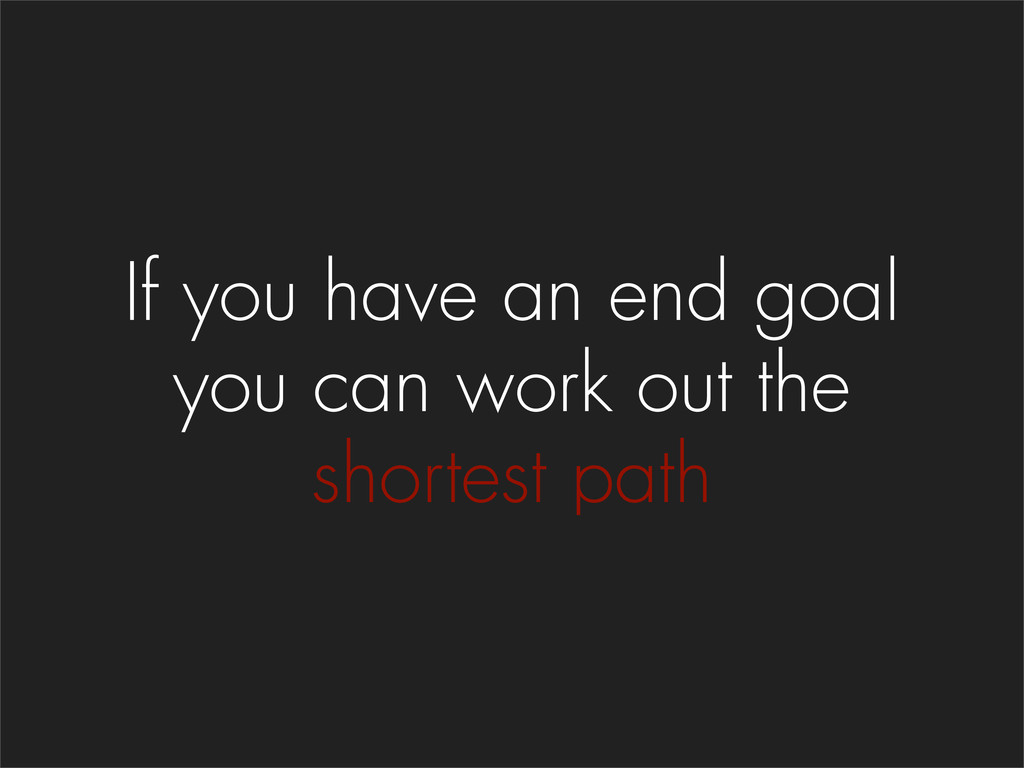 If you have an end goal you can work out the sh...