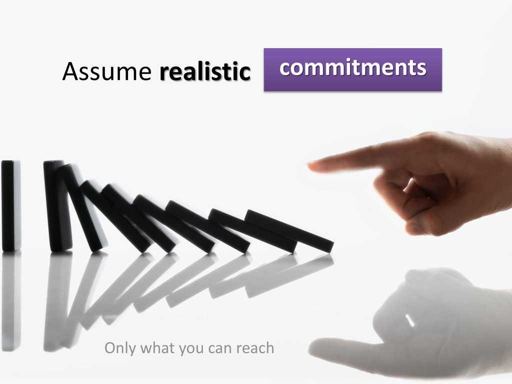 commitments Assume realistic Only what you can ...