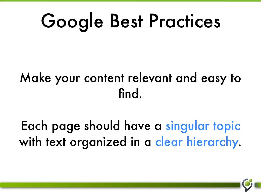 Google Best Practices Make your content relevan...