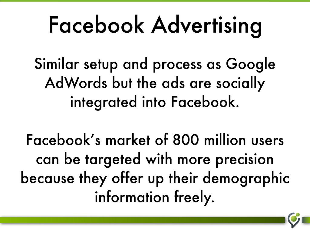 Facebook Advertising Similar setup and process ...