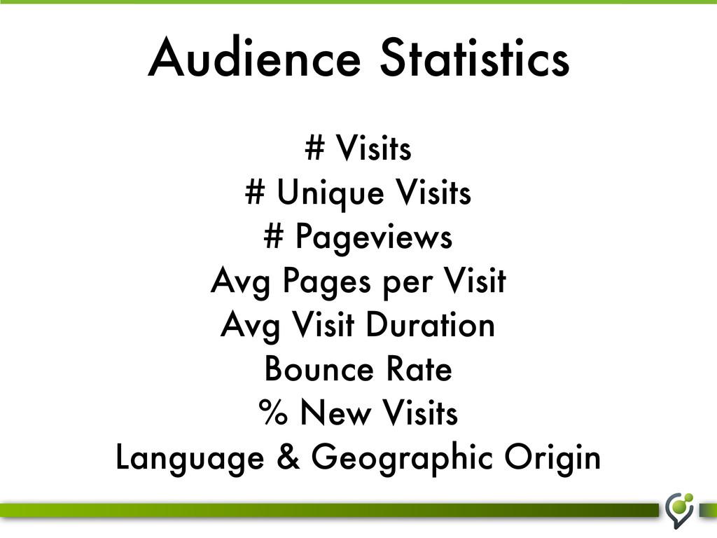 Audience Statistics # Visits # Unique Visits # ...