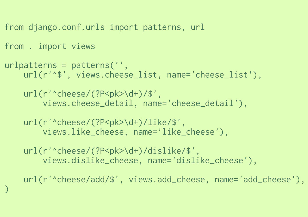 from django.conf.urls import patterns, url from...