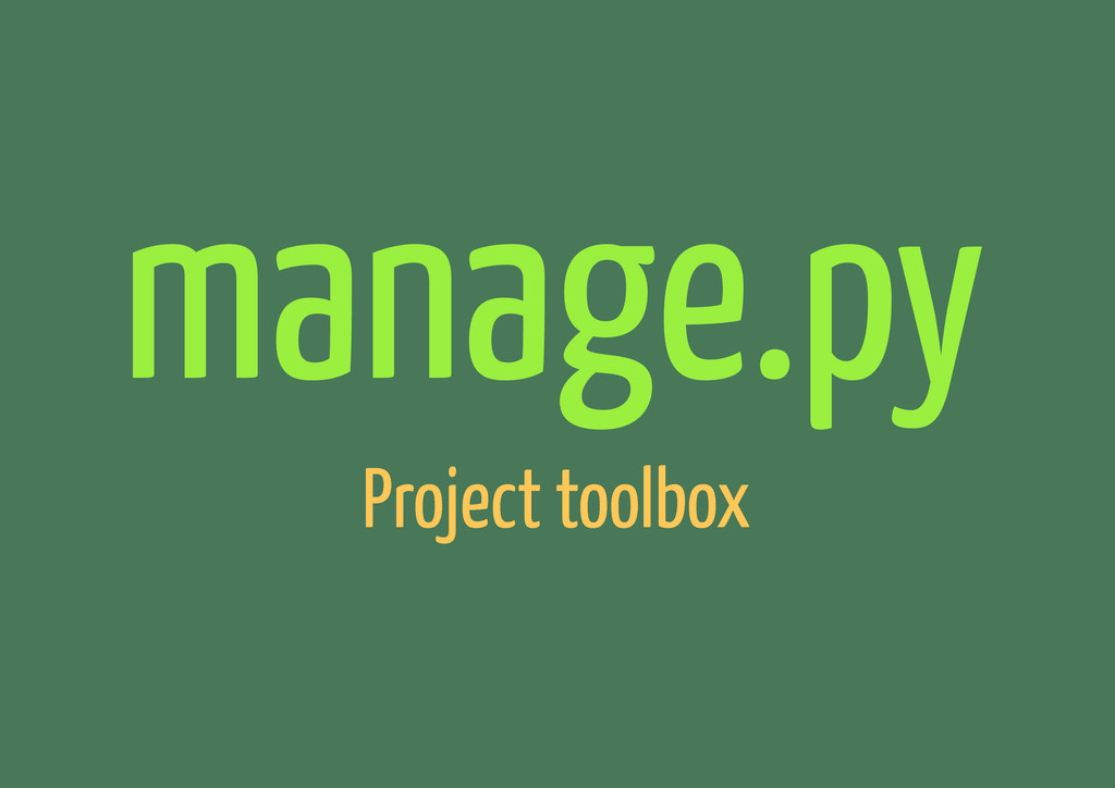 manage.py Project toolbox