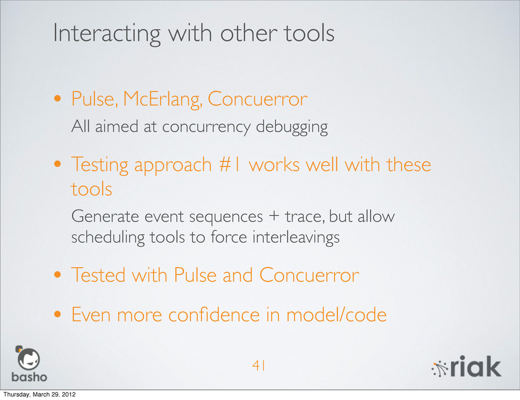 Interacting with other tools • Pulse, McErlang,...