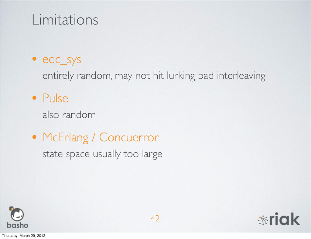 Limitations • eqc_sys entirely random, may not ...