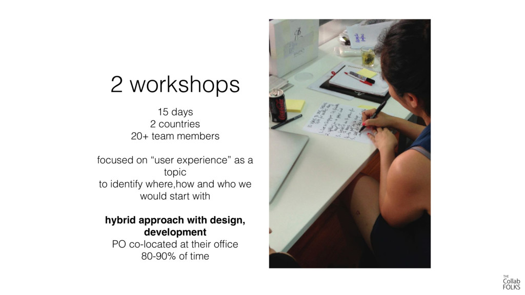 2 workshops 15 days 2 countries 20+ team member...