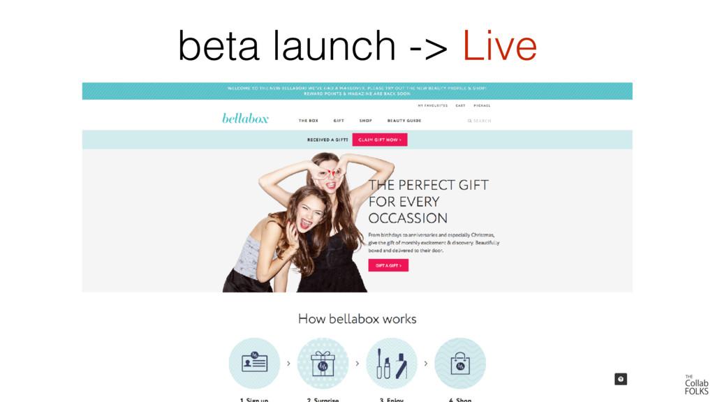 beta launch -> Live